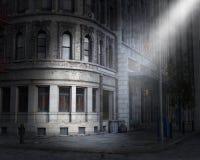 De donkere Hoek van de Stadsstraat, Licht Stock Foto's
