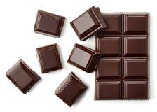 De donkere hoogste mening van chocoladestukken Stock Afbeelding