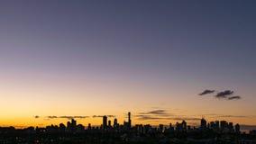 De donkere horizon van Melbourne met negatieve ruimte Royalty-vrije Stock Fotografie