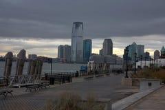 De donkere horizon van New Jersey van Manhattan na Zandige orkaan Royalty-vrije Stock Afbeeldingen