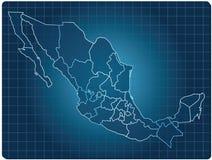 De donkere kaart van Mexico stock illustratie