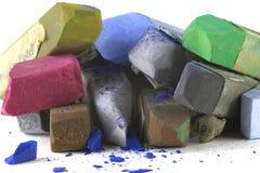 De donkere kleuren van het pastelkleurkrijt Stock Foto's