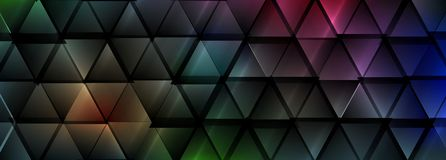 De donkere kleurrijke abstracte glanzende achtergrond van driehoekentechnologie stock illustratie