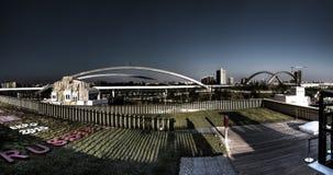 De donkere macabere foto van panoramahdr van de mening vanaf de bovenkant van het grote Russische paviljoen in Milaan EXPO 2015 Stock Afbeelding