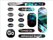 De donkere Mobiele Knopen van de Interface van het Web PDA Stock Afbeelding