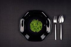 De donkere moderne minimalistic spot van het restaurantmenu omhoog met zwarte glanzende plaat, lepel, vork en groene installatie, Stock Afbeelding