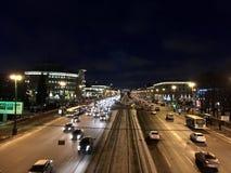 De donkere nacht van Moskovskyprospekt Stock Foto's