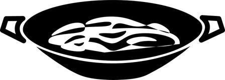 De de donkere pan en noedels van de pictogramwok royalty-vrije illustratie
