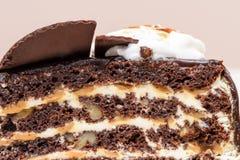 De donkere plak van de chocoladecake Royalty-vrije Stock Fotografie