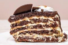 De donkere plak van de chocoladecake Royalty-vrije Stock Afbeeldingen
