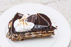De donkere plak van de chocoladecake Royalty-vrije Stock Foto's