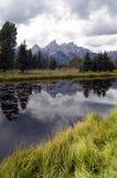 De donkere Rivier Scherp Piekgrand teton Wyoming van de Dagslang Royalty-vrije Stock Afbeeldingen