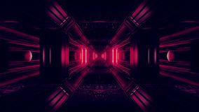 De donkere ruimteachtergrond van de scifitunnel met abstracte textuur 3d illustratie als achtergrond vj voorziet lijn van een lus stock footage