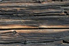 De donkere Rustieke Muur van het Huislogboek Stock Afbeelding