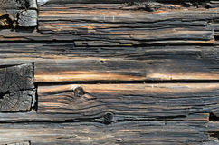 De donkere Rustieke Muur van het Huislogboek Stock Foto