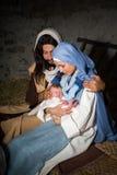 De donkere scène van de Kerstmisgeboorte van christus Stock Foto