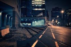 De donkere Tunnel van de Stadstrein bij Nacht Royalty-vrije Stock Fotografie