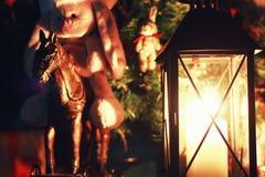 De donkere vakantie van de kaarslantaarn Royalty-vrije Stock Afbeeldingen