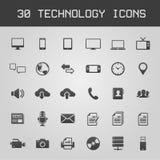 30 de donkere vectorillustratie van technologiepictogrammen Stock Afbeelding