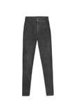 De donkergrijze magere hoge die broek van taillejeans, op witte backg wordt geïsoleerd Stock Foto's