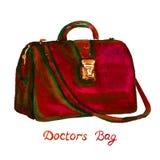 De donkerrode kleur artsen doen type met gouden slot en lang die handvat in zakken, op witte achtergrond wordt geïsoleerd stock illustratie