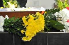 De doodskist en bloem-arrang-bloeit Royalty-vrije Stock Fotografie