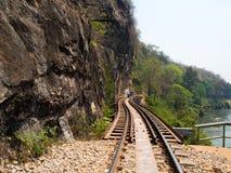 De doodsspoorweg werd voortgebouwd op Wereld War2, Thailand Stock Foto