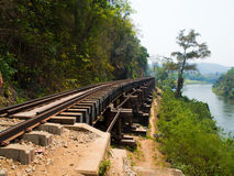 De doodsspoorweg werd voortgebouwd op Wereld War2, Thailand Royalty-vrije Stock Foto