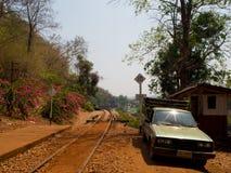 De doodsspoorweg werd voortgebouwd op Wereld War2, Thailand Stock Fotografie