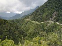De Doodsweg - de gevaarlijkste weg in de wereld, Bolivië Stock Foto