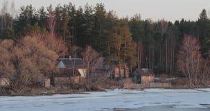 De dooi vroege lente tegen de achtergrond van een huis in het bos stock footage