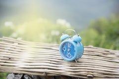 De doopvont klokt blauw vaag landschap Stock Foto