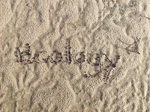 De doopvont schreef & x27; ecology& x27; op het zand Stock Afbeeldingen