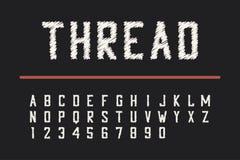 De doopvont van de borduurwerkdraad Gecondenseerde gewaagde lettersoort met aantallen Vector stock illustratie