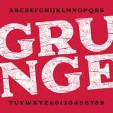 De doopvont van het Grungealfabet Vuile gekraste typeletters en getallen Stock Fotografie