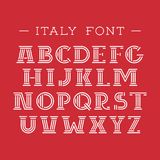 De doopvont van Italië Vectoralfabet met Latijnse brieven Stock Afbeelding
