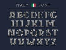 De doopvont van Italië Vectoralfabet met Latijnse brieven Stock Foto