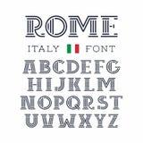 De doopvont van Italië Vectoralfabet met Latijnse brieven Royalty-vrije Stock Afbeeldingen