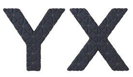 De doopvont X-Y brieven van het luxe zwarte gestikte leer Stock Foto's