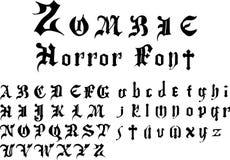 De doopvontalfabet van de zombieverschrikking Royalty-vrije Stock Foto