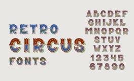 De doopvonten en de aantallenreeks van het alfabetontwerp van het krabbel retro circus Royalty-vrije Stock Fotografie