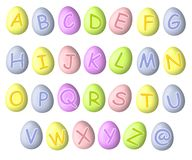 De Doopvonten van het Paasei van de Pastelkleur van het alfabet Royalty-vrije Stock Afbeeldingen