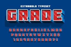 De doopvontontwerp, alfabet, letters en getallen van de Extrabold 3d vertoning royalty-vrije illustratie