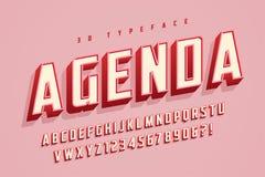 De doopvontontwerp van de agendavertoning, alfabet, lettersoort, brieven en verkleumd Royalty-vrije Illustratie