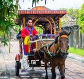 De door paarden getrokken die voertuigen in het paleis worden gebruikt werden hersteld aan passagiersreis in Tint stock fotografie