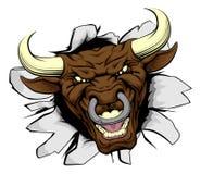 De doorbraak van de stierenmascotte Stock Afbeelding