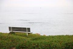 De doorstane houten bank overziet de oceaan stock foto