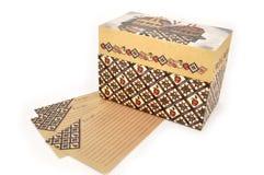 De doos en de kaarten van het recept Stock Fotografie