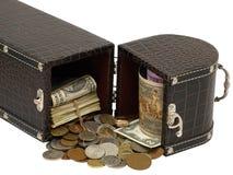 De doos met het geld. Stock Fotografie