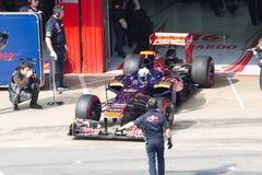 De doos van Daniel Ricciardo uit - Toro Rosso Barcelona Stock Fotografie